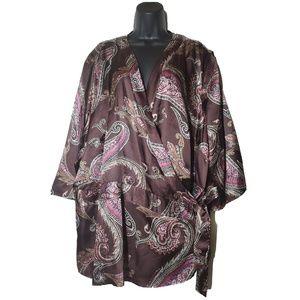 Lane Bryant Purple Paisley Wrap Blouse Size 26/28